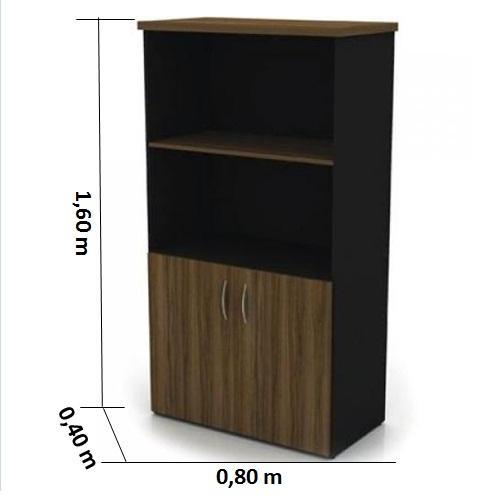 Armário alto semi-aberto top 30 maderado com preto Galuart