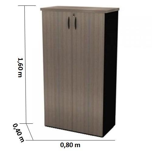 Armário alto fechado nogal/preto tampo 30mm