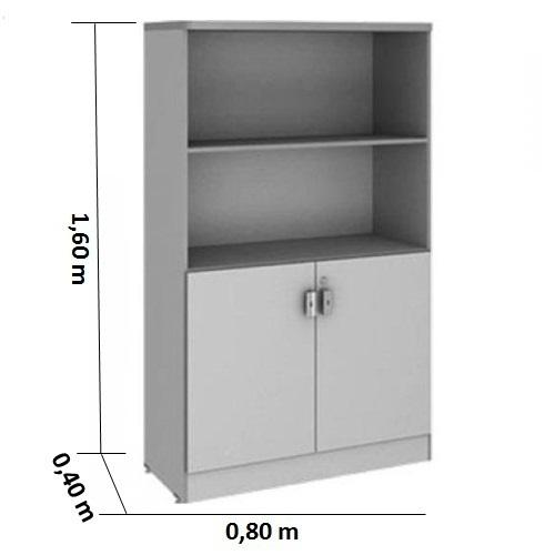Armário alto semi-aberto cinza cristal tampo 30mm