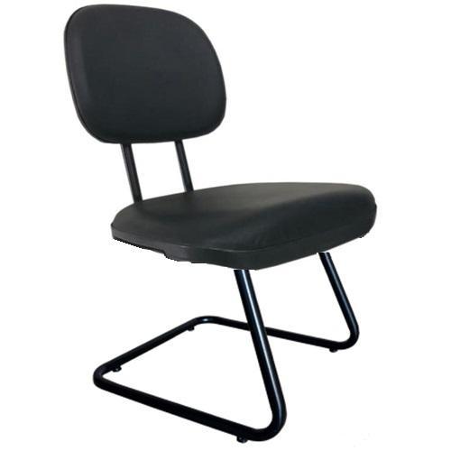 Cadeira secretária fixa base em S tecido azul.