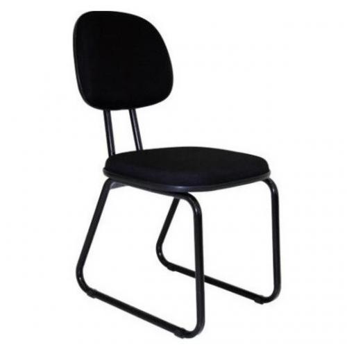 Cadeira secretária fixa base trapézio azul