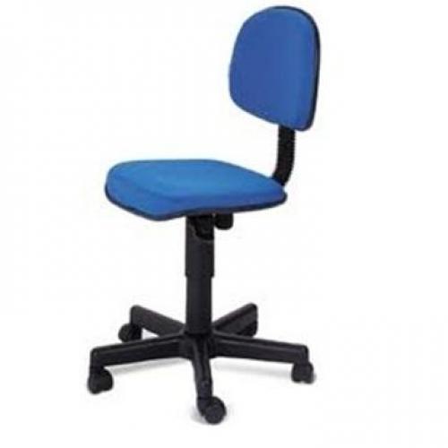 Cadeira secretária giratória sem braço tecido azul mesclado