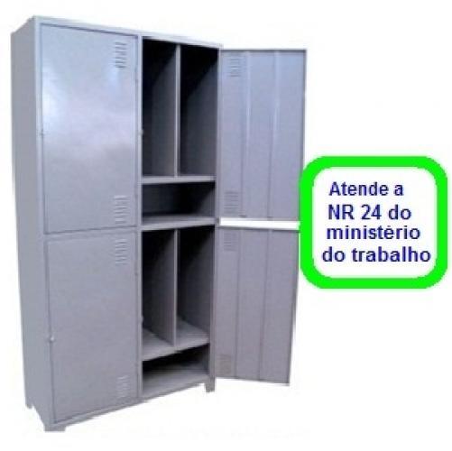 Roupeiro GR-3 Insalubre c/3 Divisores e reforço omega nas portas