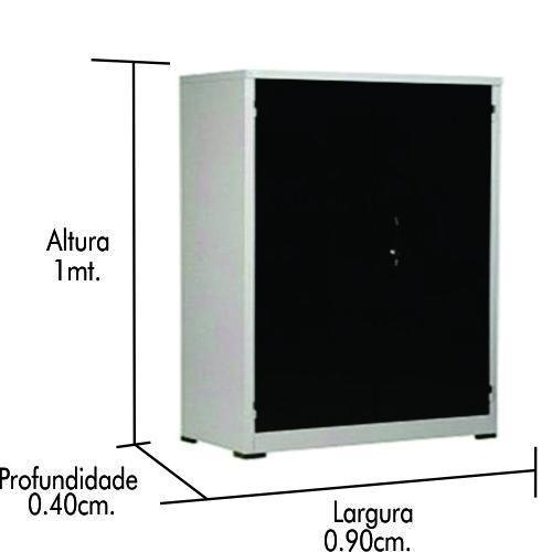 Armario de Aço PA100 PRETO C/ uma prateleira