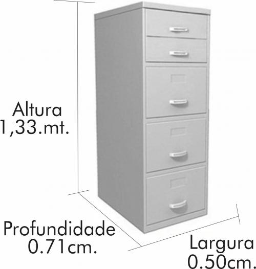 Arquivo de aço com 5 Gavetas com batoque (1,33x0,50x0,71)