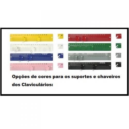Opções de cores para os suportes e chaveiros.