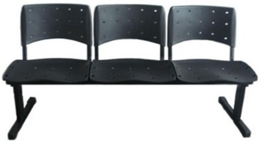 longarina 3 lugares ergoplax na cor preta