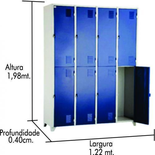 Roupeiro de Aço 8 portas grande azul