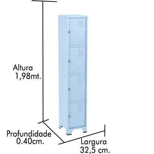 Roupeiro de Aço 4 Portas com reforço