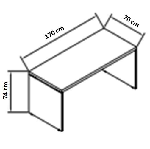 Mesa reta pé painel 40mm 1,70x0,70 mt Alt 00.74mt