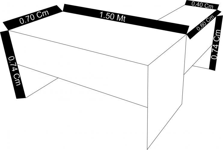 Mesa executiva em L medidas mesa principal 1,50x0,70 mesa auxiliar 80x40mm pé painel.