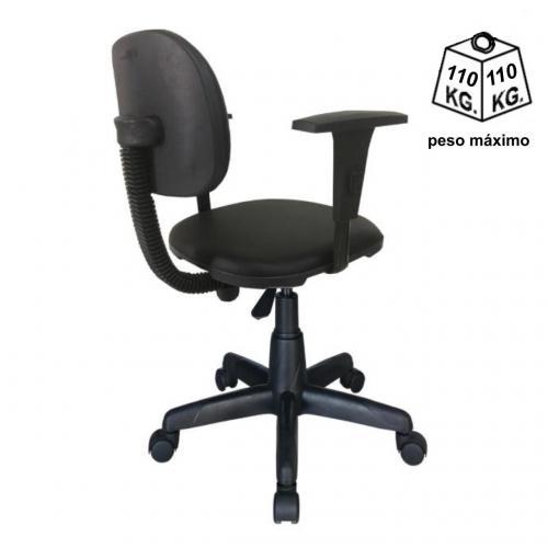 Cadeira secretária anatômica com base giratória acento e encosto tecido preto