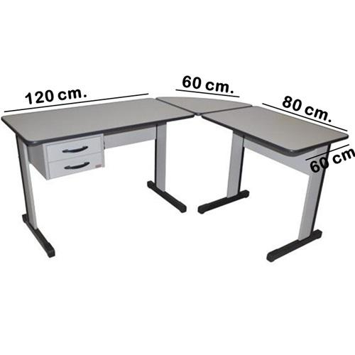 Mesa Para Escritório Com 2 Gavetas (medidas da mesa1.80x1.80) Em L, Escrivaninha Linha 15 mm- FERRUS - VARIAS CORES