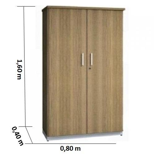 Armário alto fechado Galuart 2 porta cor nogal tampo 30mm