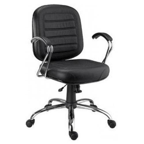 Cadeira Diretor Costurada Giratória Base e Braço cromado