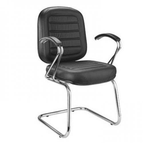 Cadeira Diretor Fixa Costurada Base em S e Braço Cromado