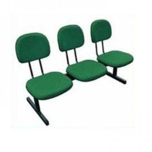 Longarina secretária em tecido verde 03 lugares