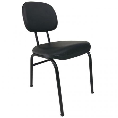 Cadeira secretária anatômica fixa 4 pé acento e encosto corano preto