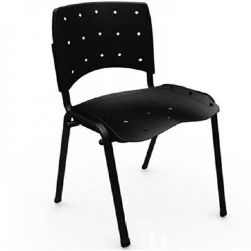 Cadeira secretária anatômica base Fixa 4 Pé Acento e Encosto ergoplax preto