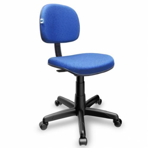 Cadeira secretária anatômica com base giratória assento e encosto tecido azul mesclado
