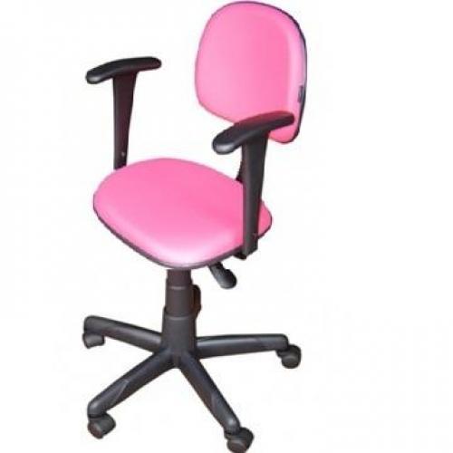 Cadeira secretária anatômica com base giratória braço digitador acento e encosto corano rosa