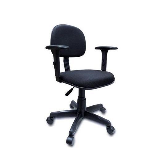 Cadeira secretária anatômica com base giratória e braço corsa acento e encosto tecido cor preto