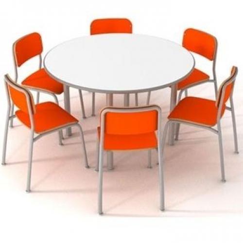 Conjunto escolar em formica redondo para 6 cadeiras