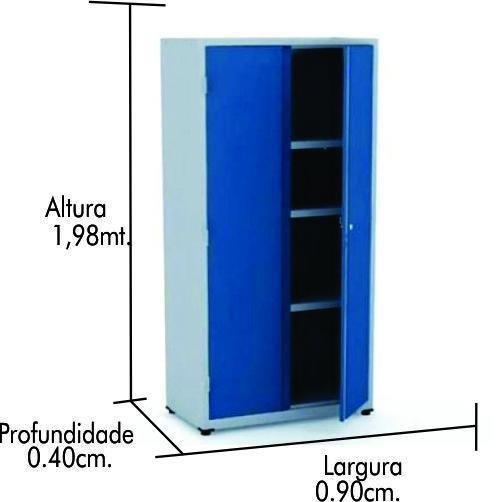 Armário de aço CA-900 com pé nivelador azul