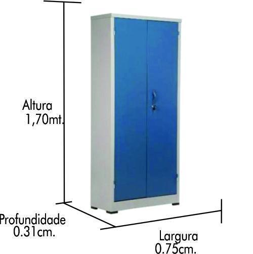 Armário de aço CA-750 com pé nivelador p/ azul