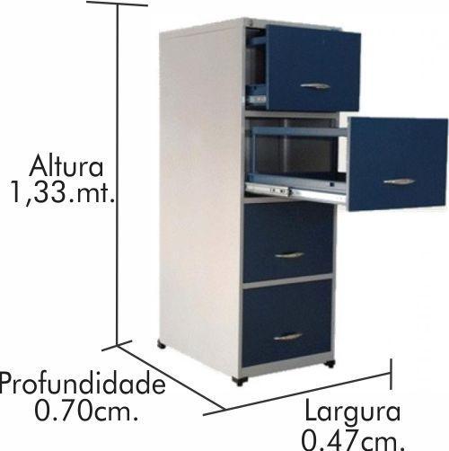 Arquivo de aço 4 gavetas trilho telescópico Comaco