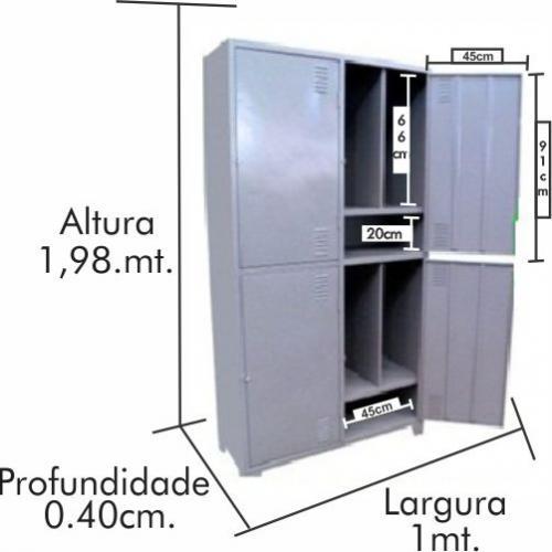 Roupeiro de aço Insalubre 4 portas com 3 divisões 100% de acordo  com a NR18 e NR24